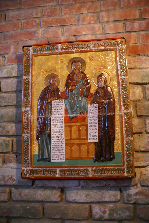 Икона прпп. Антония и Феодосия Печерских (в пещерах)